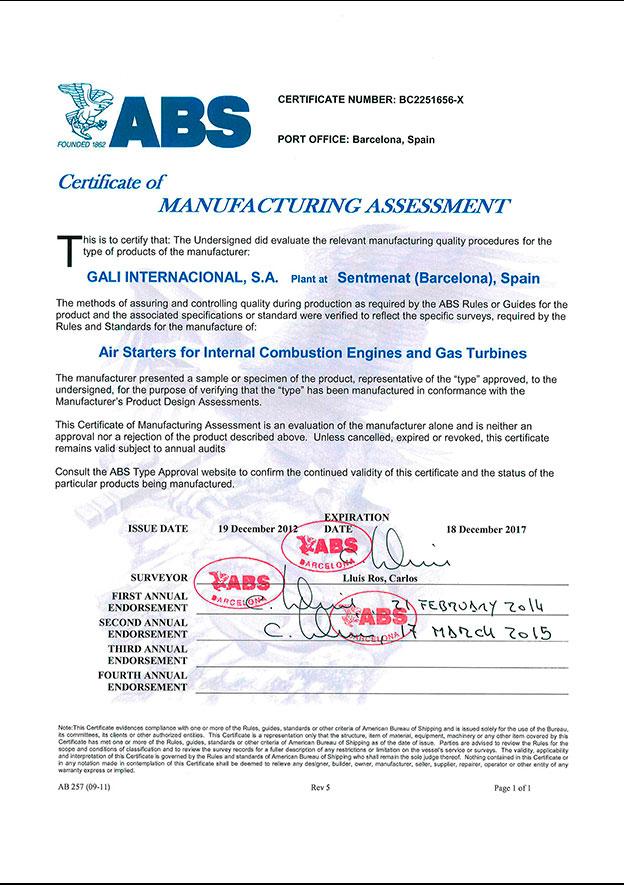ABS-Assestment certificate