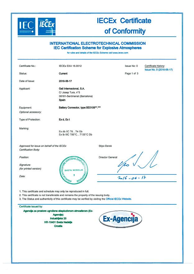 IECEx-EXA16.0012 certificate