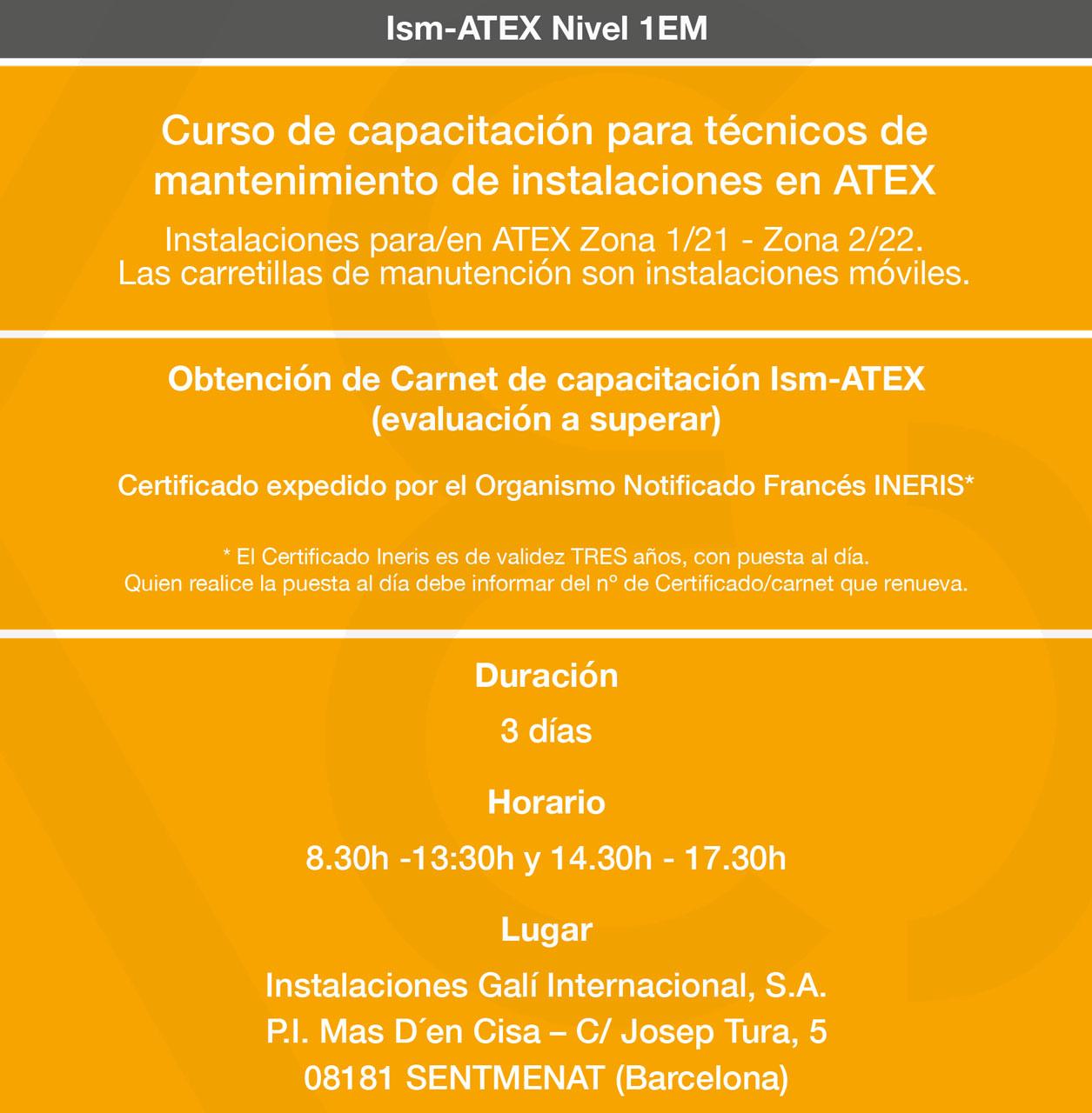 Datos curso formación ATEX Gali Internacional 2018