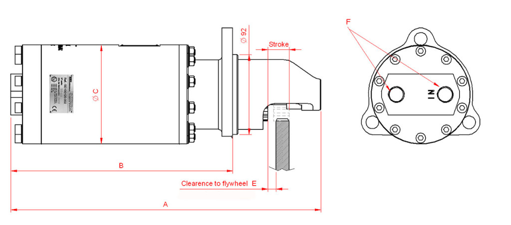 Hydraulic starters ATEX-IECEX technical drawing