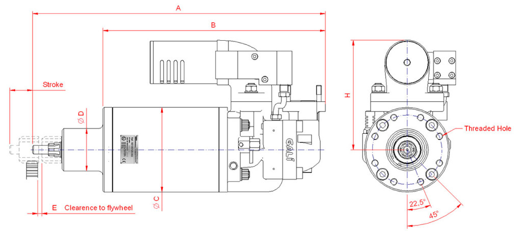 Pneumatic starters ATEX-IECEX technical drawing