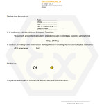 Declaration CE of conformity for pneumatic starters ATEX-IECEX