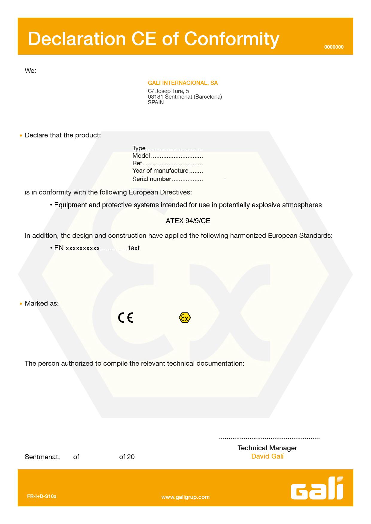 Hydraulic starters ATEX-IECEX declaration CE of conformity