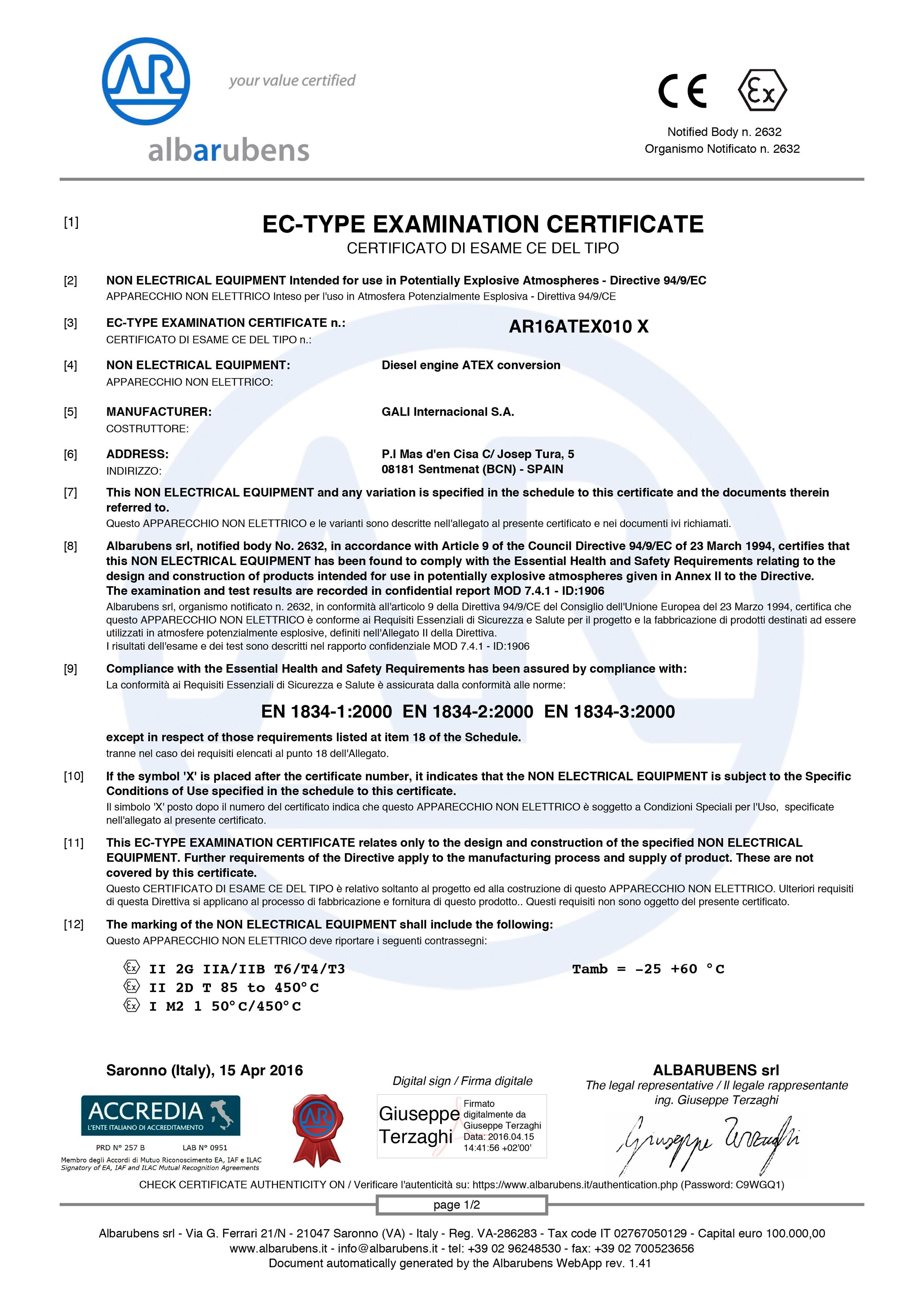 AR16ATEX010-X-1 certificate