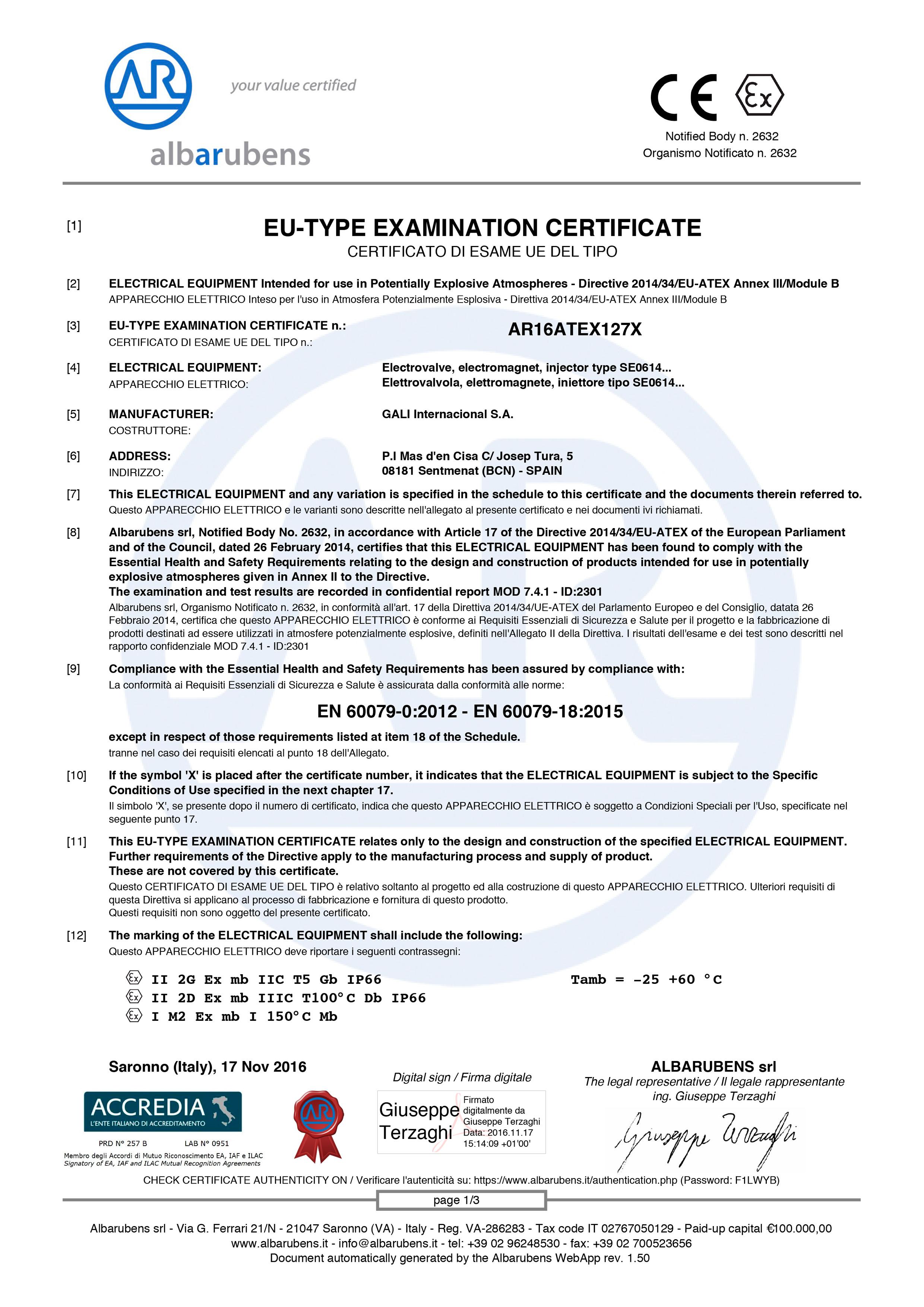 AR16ATEX127X-1 certificate