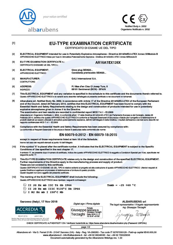 ATEX Product certificate AR16ATEX128X
