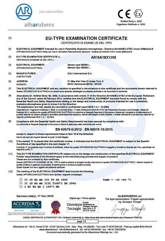 ATEX Product certificate AR16ATEX129X certificate