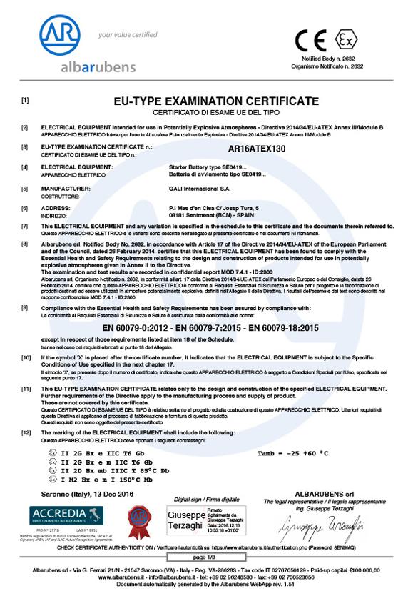 ATEX Product certificate AR16ATEX130 certificate