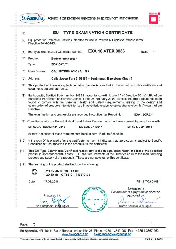 EXA16ATEX0036-1 certificate