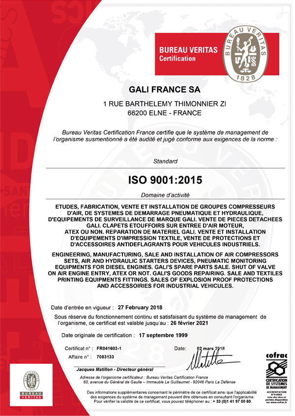 Certificate ISO 9001 (2015) Gali France