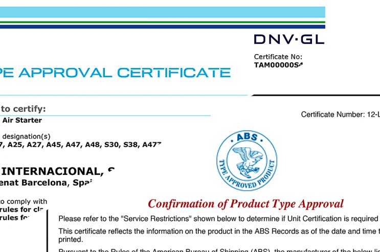 Renewals of type approvals certificates by the DNV-GL and ABS societies.