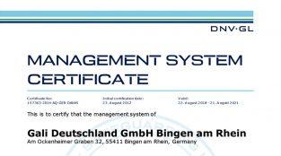 ISO 9001 Certificate Gali Deutschland (EN) (2015) miniature