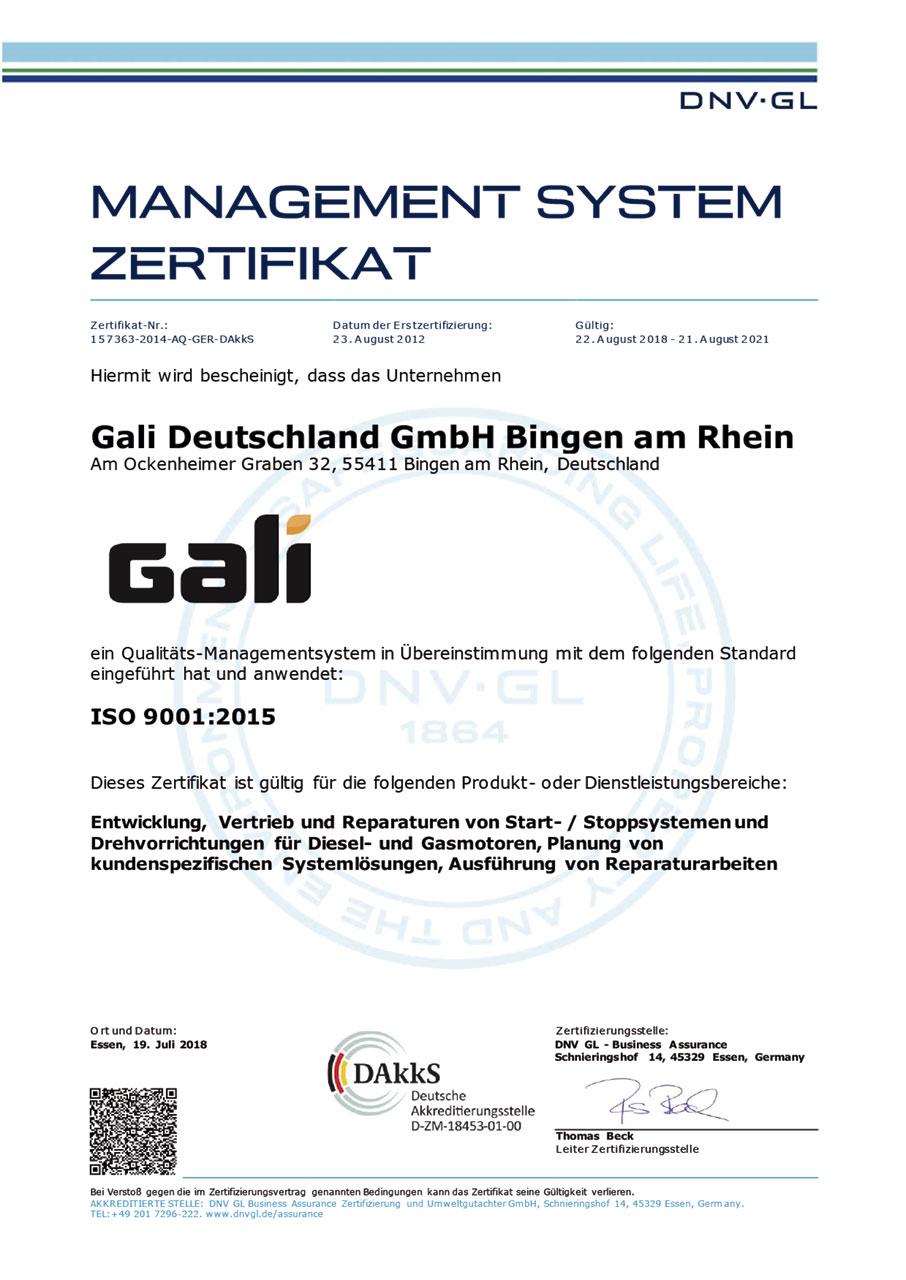 ISO 9001 Certificate Gali Deutschland (GE) (2015)