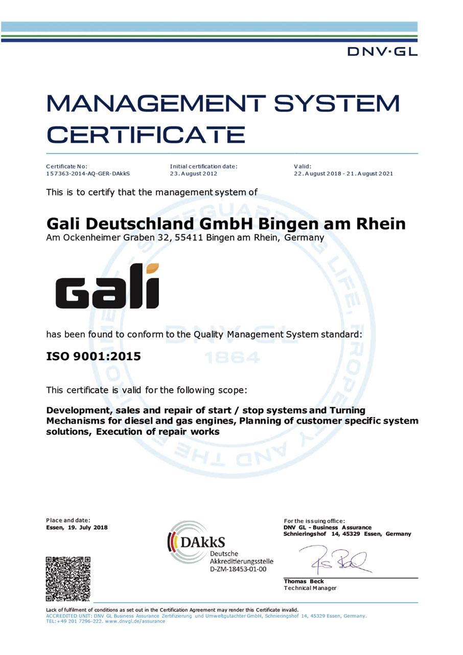 ISO 9001 Certificate Gali Deutschland (EN) (2015)