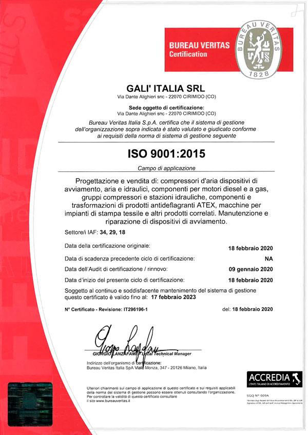 GALI ITALIA SRL - ISO 9001