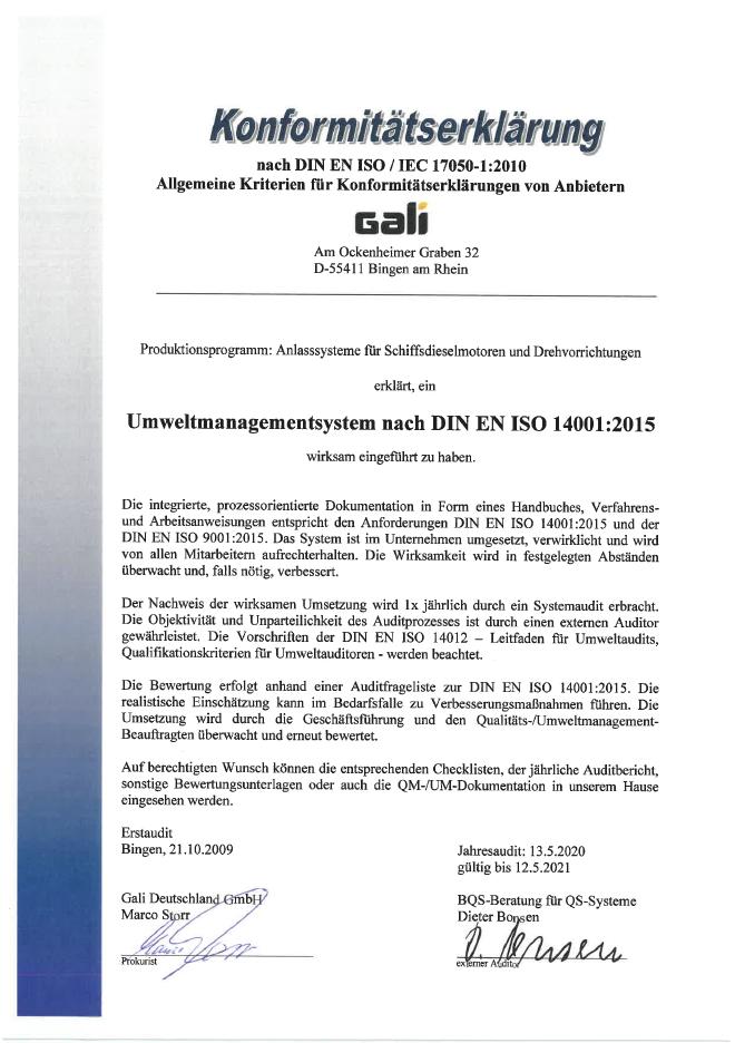 Konformitätserklärung ISO 14001 2020