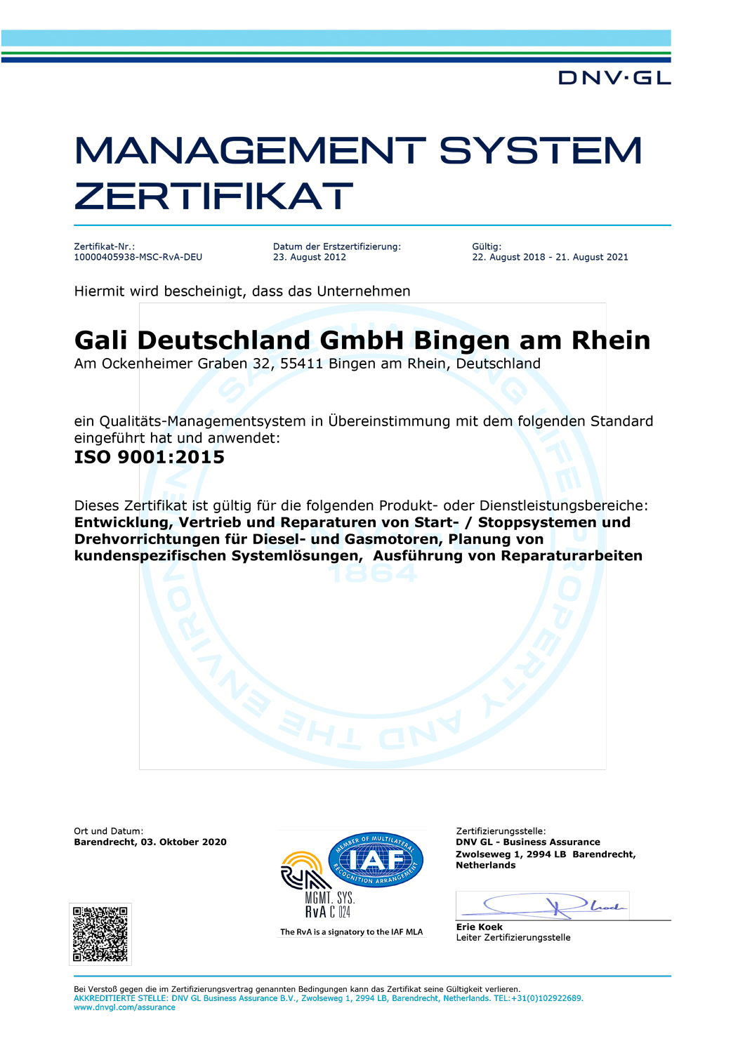 ISO 9001 rev0 10000405938-MSC-RvA-DEU German